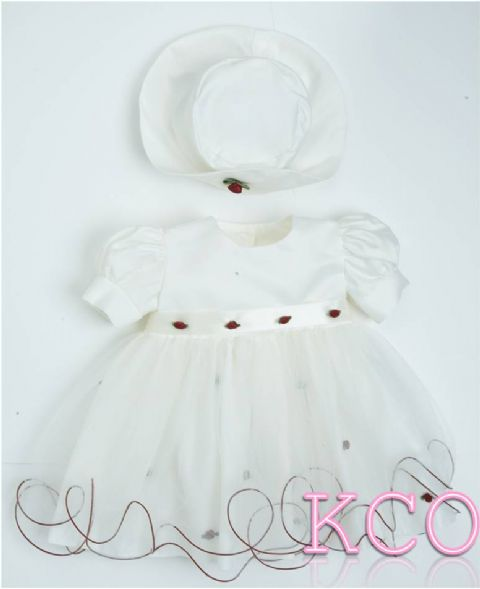 Baby Flower Dress Ivory/burgundy ~ Girls Dress